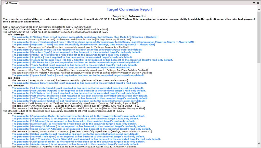 Fanuc Target Conversion Report