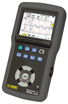 AEMC PowerPad Jr. Model 8230 Power Quality Analyzer