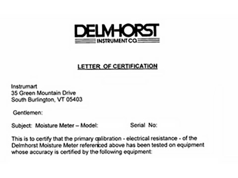 Delmhorst Certificate of Conformance