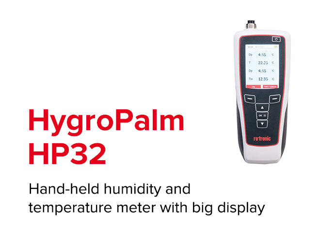 HygroPalm HP32 - Hand-held humidity and temperature meter with big display