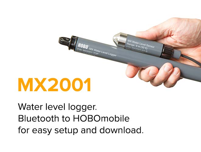 MX2001 - Water level logger. Bluetooth to HOBOmobile for easy setup and download.