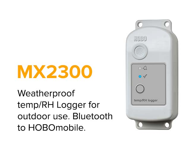 MX2300 - Weatherproof temp/ RH Logger for outdoor use. Bluetooth to HOBOmobile.